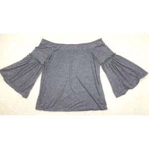 NWT HALSTON Gray Knit Off The Shoulder Peasant Top